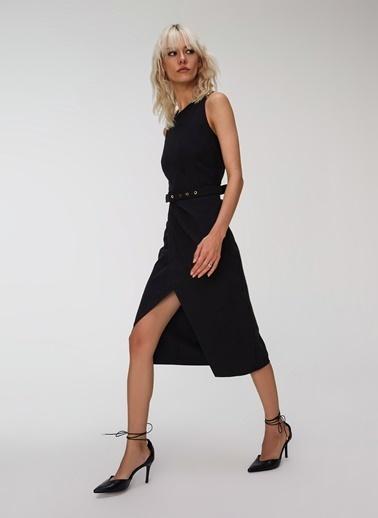 People By Fabrika Drapeli Kemerli Elbise Siyah